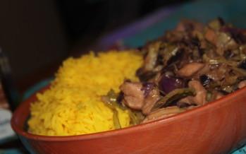 Winterse rijst met kip en kool
