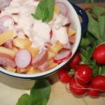 Snelle Kaas Worst salade met radijs