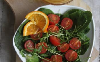 Spinazie Rucola salade met sinaasappel honing dressing