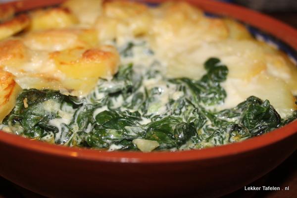 Aardappelgratin met spinazie