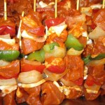Barbecue spiezen feest; gloeiend lekker