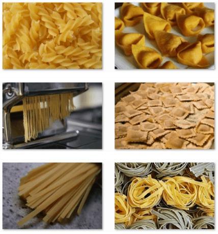 Pasta; met de basis een topper op tafel zetten.