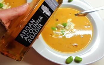 Zoete aardappelsoep met arganolie