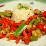 Kipfajitas met rijst