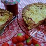 Cheesecake met aardbei en rabarber