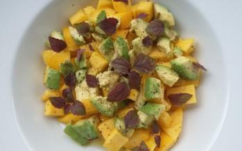 Mango-avocado salade met Shiso purple cress