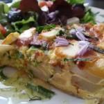 Quiche van gorgonzola, peer en courgette