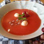 Watermeloen-tomaat soepje