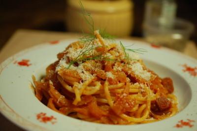 pasta met venkel en salami