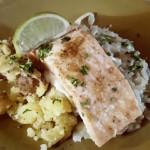 Witte kool met dragonsaus, geplette krieltjes en gebakken zalm