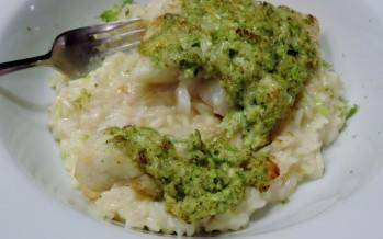 Heilbot met broccoli-gratin en venkel-risotto