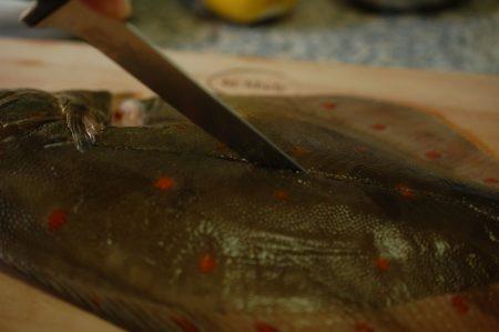 3. Snijd langs de lijn op de vis tot de graat