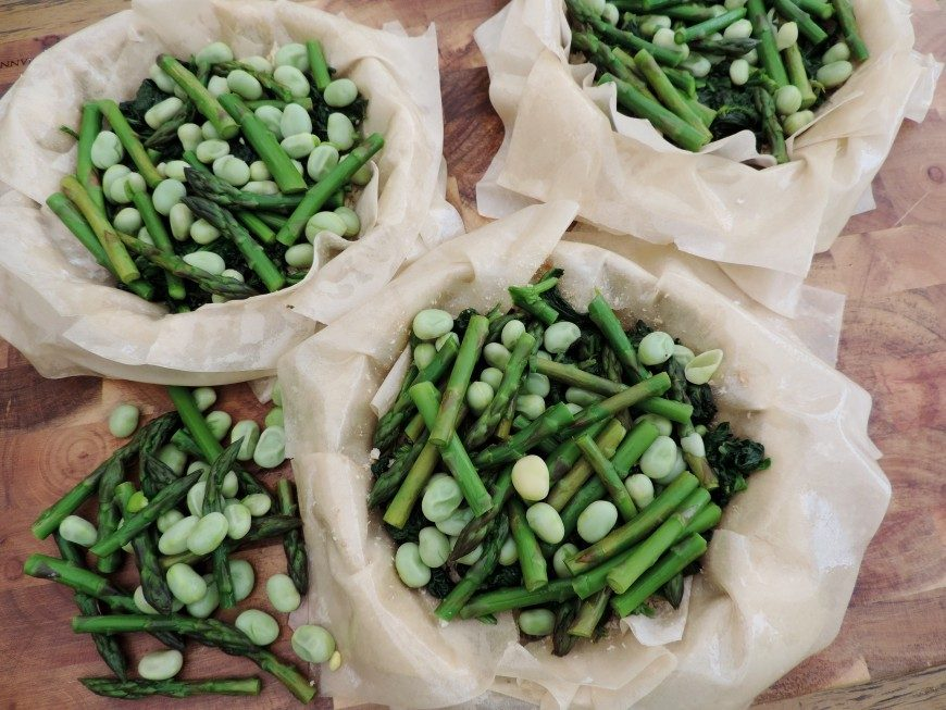 groentetaartje - asperges - spinazie - tuinbonen - filodeeg