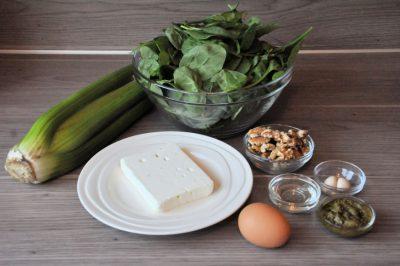 Bleekselderij, spinazie en feta met filo 1