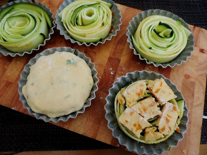Courgette taartjes met kaas