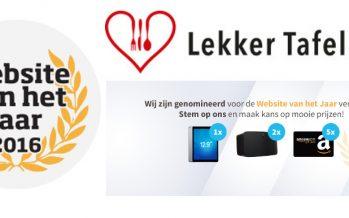 Lekker Tafelen genomineerd voor Website van het jaar 2016