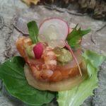 Amuse van zalm, garnalen en avocadomousse