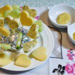 Hartenspiesjes van kaas en komkommer
