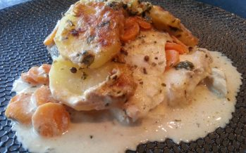 Vis ovenschotel met aardappel, wortel en een mosterdsausje