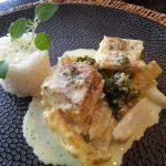 Kabeljauw met koolrabi, broccoli en kerrieroom