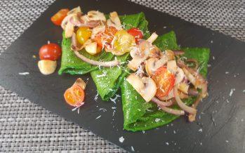 Spinaziepannenkoekjes met gebakken groente