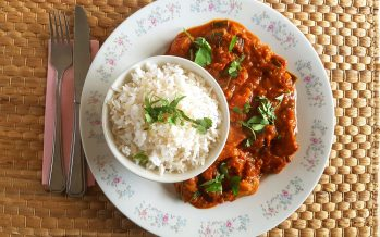 Curry van kip en aubergine