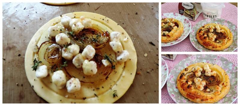 Gekarameliseerde uientaartjes met geitenkaas en honing
