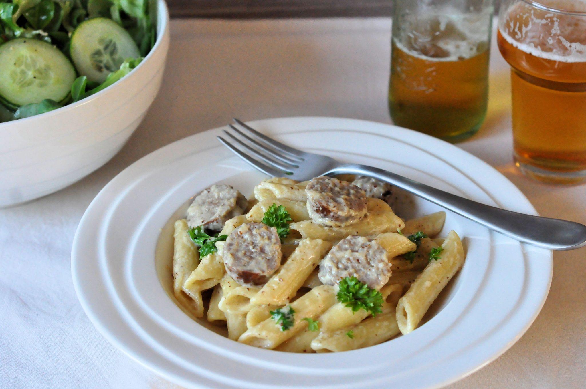 Super Braadworst met penne; Stoere pasta met mosterdsaus | Lekker Tafelen @CI64