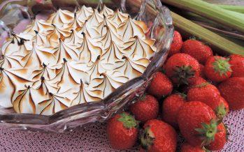Rabarber aardbeien compote met schuim