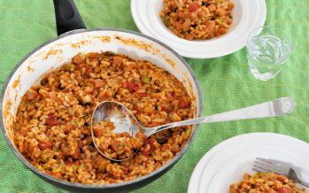 Macaronischotel met ham, groenten en kaas