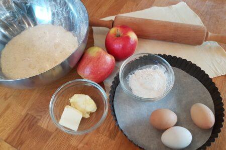 Rijsttaart met appelschijfjes
