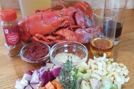 Ingrediënten kreeftenbisque of kreeftensoep