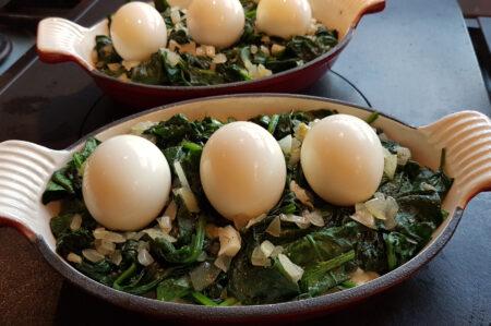Ovenschotel met eieren en spinazie